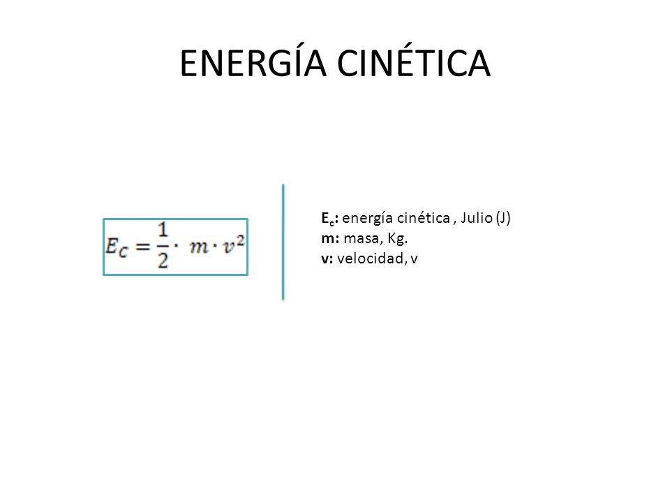 ENERGÍA CINÉTICA Ec: energía cinética , Julio (J) m: masa, Kg.