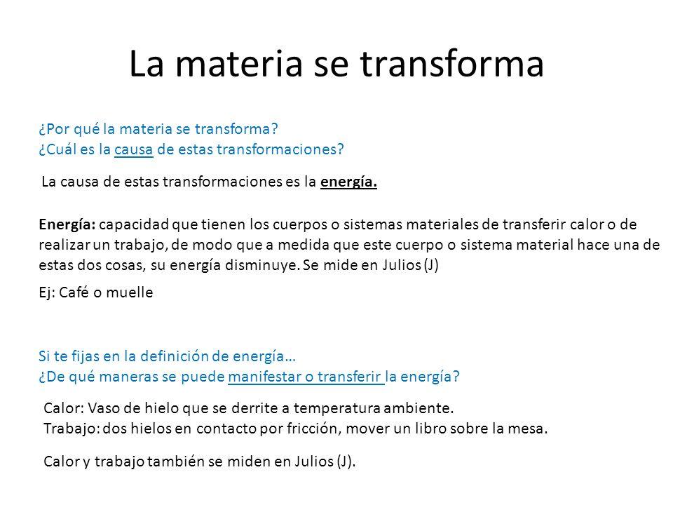 La materia se transforma