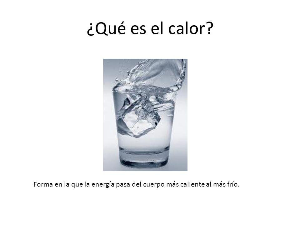 ¿Qué es el calor Forma en la que la energía pasa del cuerpo más caliente al más frío.