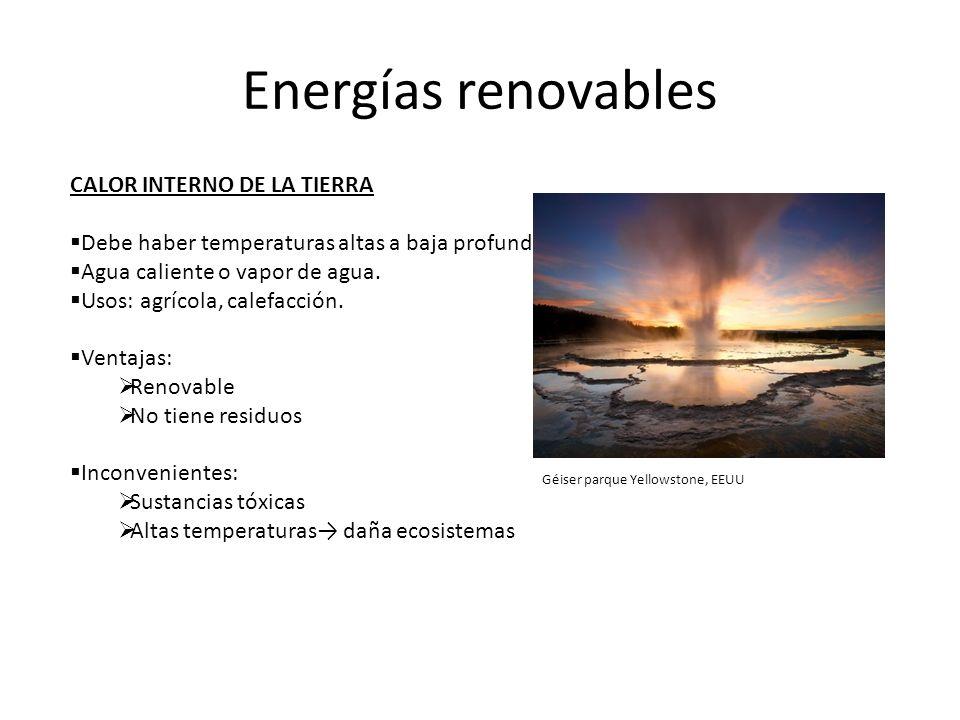 Energías renovables CALOR INTERNO DE LA TIERRA