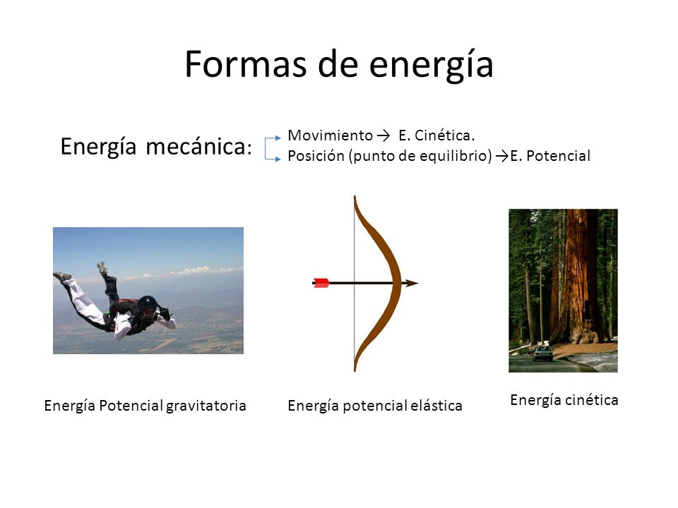 Formas de energía Energía mecánica: Movimiento → E. Cinética.