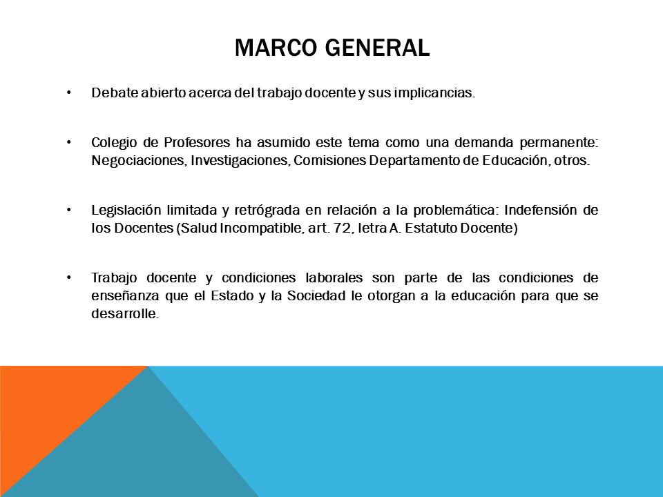 Marco General Debate abierto acerca del trabajo docente y sus implicancias.