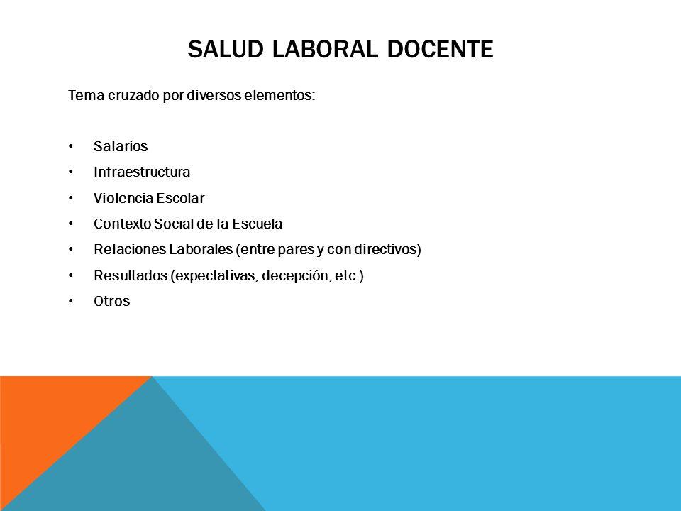 Salud Laboral Docente Tema cruzado por diversos elementos: Salarios