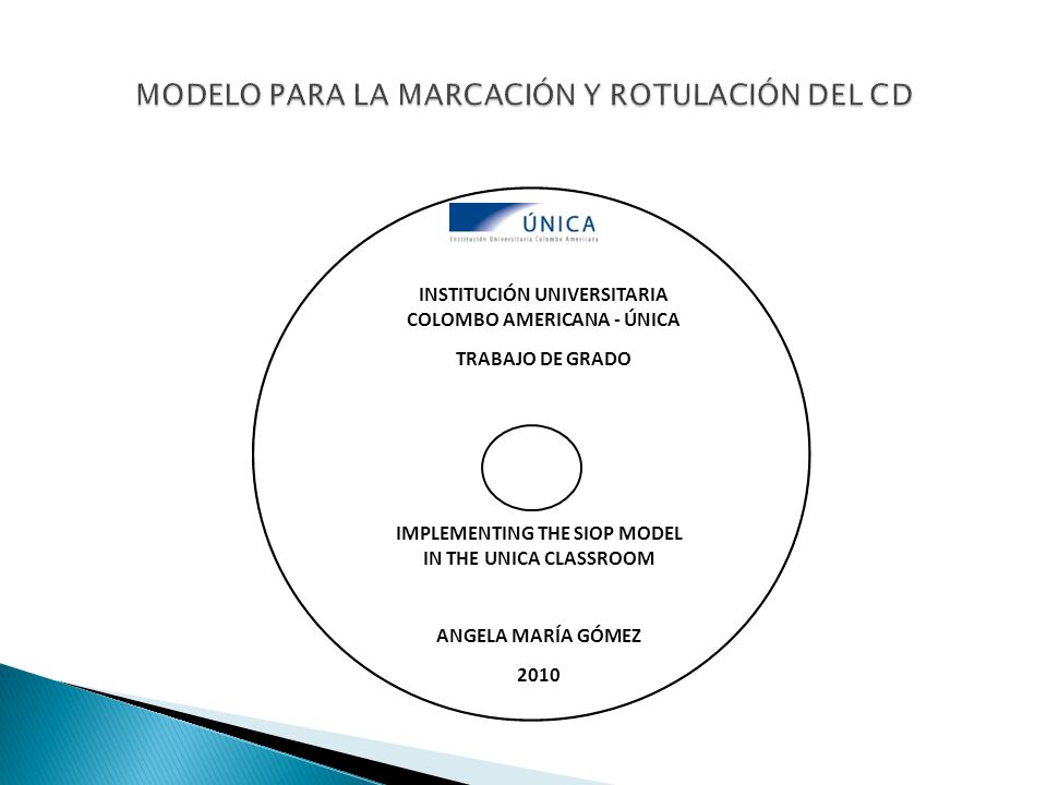 MODELO PARA LA MARCACIÓN Y ROTULACIÓN DEL CD