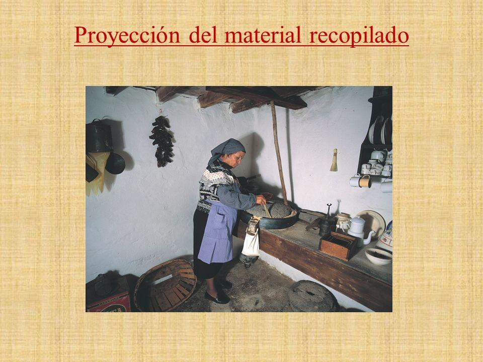 Proyección del material recopilado