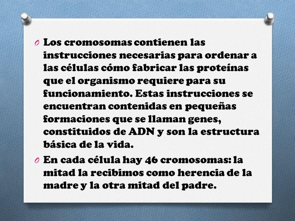 Los cromosomas contienen las instrucciones necesarias para ordenar a las células cómo fabricar las proteínas que el organismo requiere para su funcionamiento. Estas instrucciones se encuentran contenidas en pequeñas formaciones que se llaman genes, constituidos de ADN y son la estructura básica de la vida.