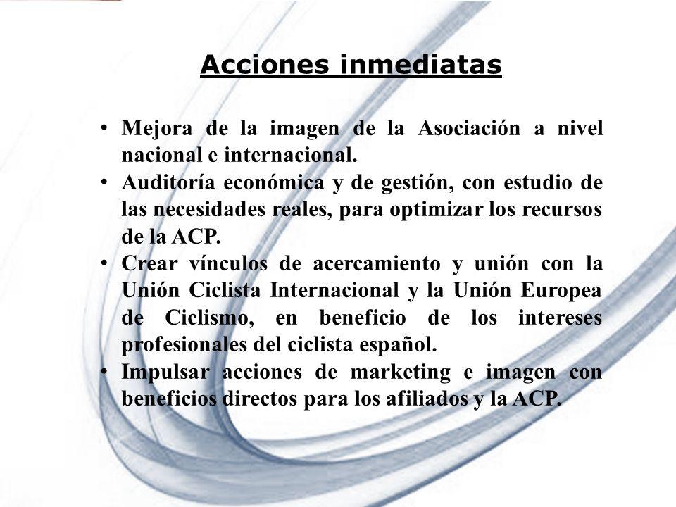 Acciones inmediatas Mejora de la imagen de la Asociación a nivel nacional e internacional.