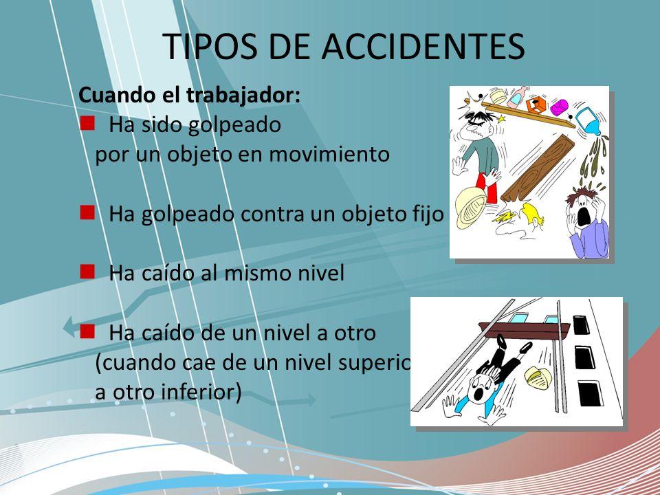 TIPOS DE ACCIDENTES Cuando el trabajador: Ha sido golpeado