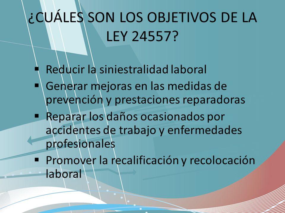 ¿CUÁLES SON LOS OBJETIVOS DE LA LEY 24557
