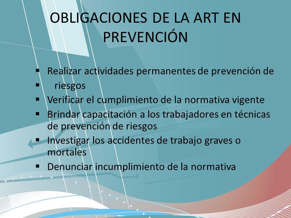 OBLIGACIONES DE LA ART EN PREVENCIÓN
