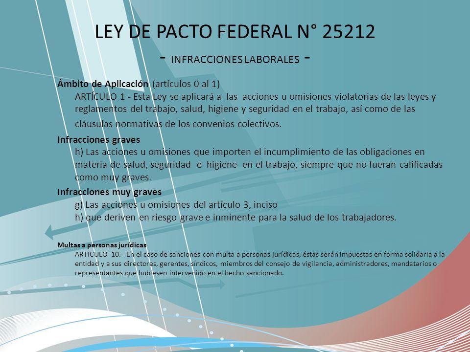 LEY DE PACTO FEDERAL N° 25212 - INFRACCIONES LABORALES -