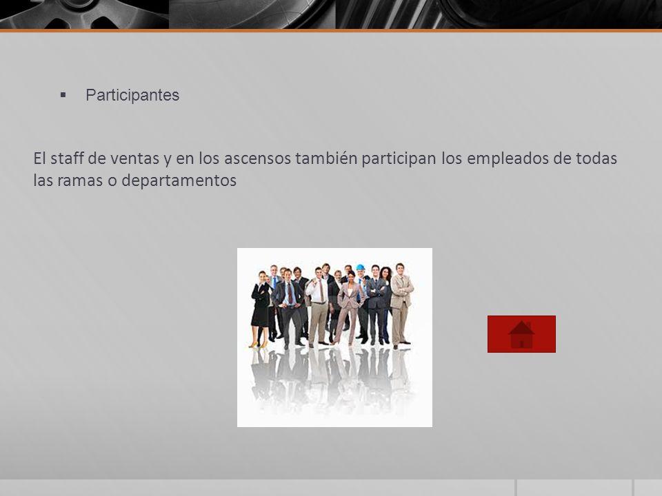 ParticipantesEl staff de ventas y en los ascensos también participan los empleados de todas las ramas o departamentos.