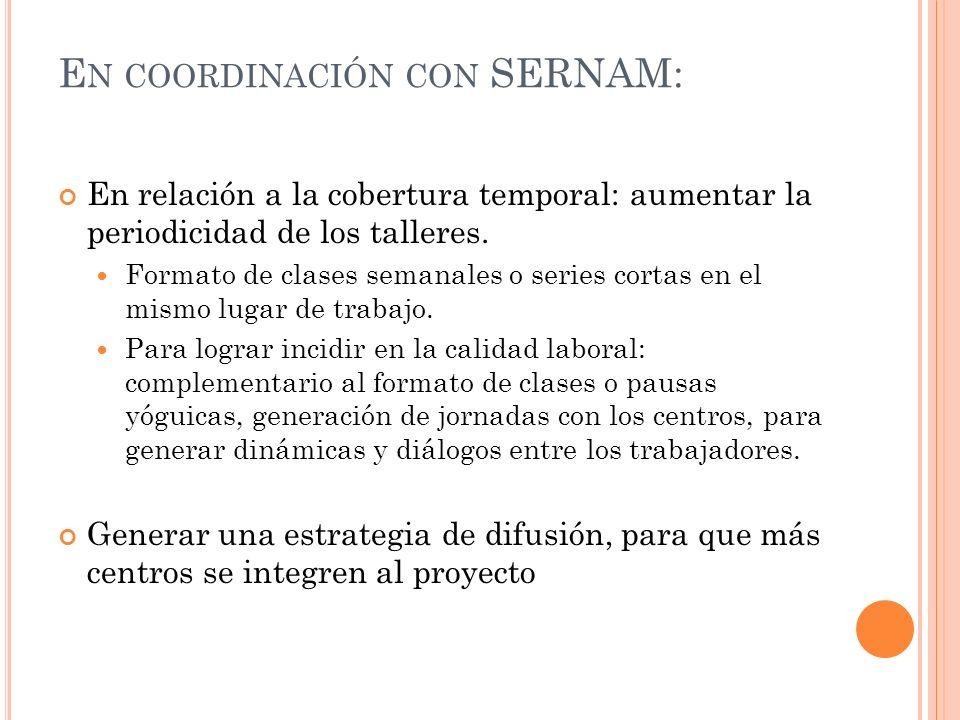En coordinación con SERNAM: