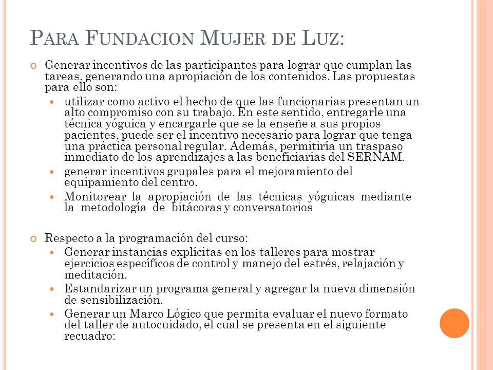 Para Fundacion Mujer de Luz: