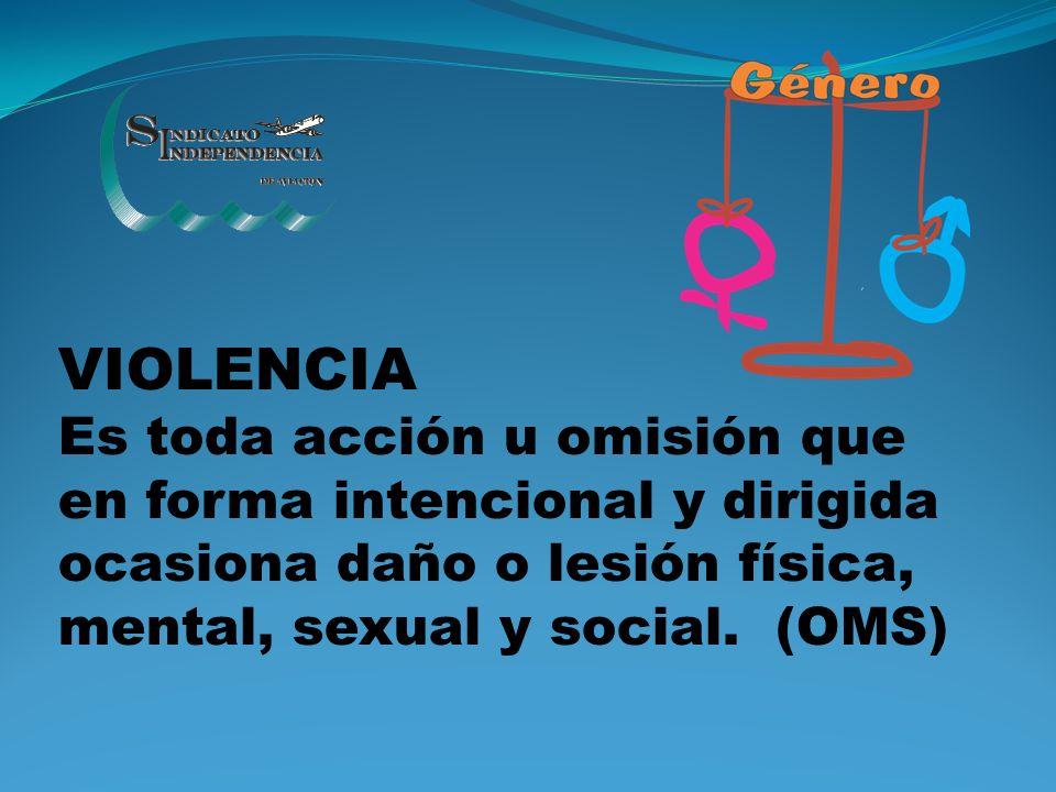 VIOLENCIA Es toda acción u omisión que en forma intencional y dirigida ocasiona daño o lesión física, mental, sexual y social.
