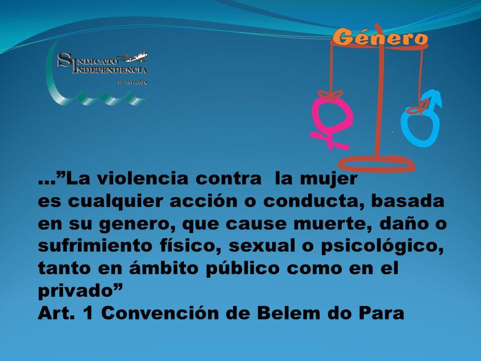 … La violencia contra la mujer es cualquier acción o conducta, basada en su genero, que cause muerte, daño o sufrimiento físico, sexual o psicológico, tanto en ámbito público como en el privado Art.