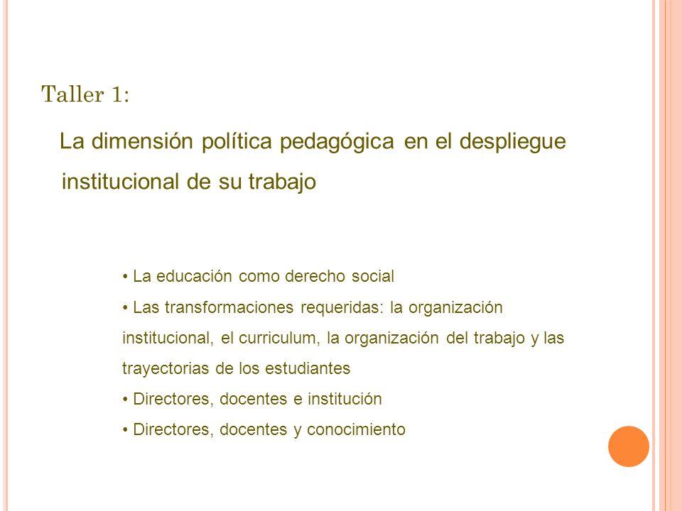 Taller 1: La dimensión política pedagógica en el despliegue institucional de su trabajo