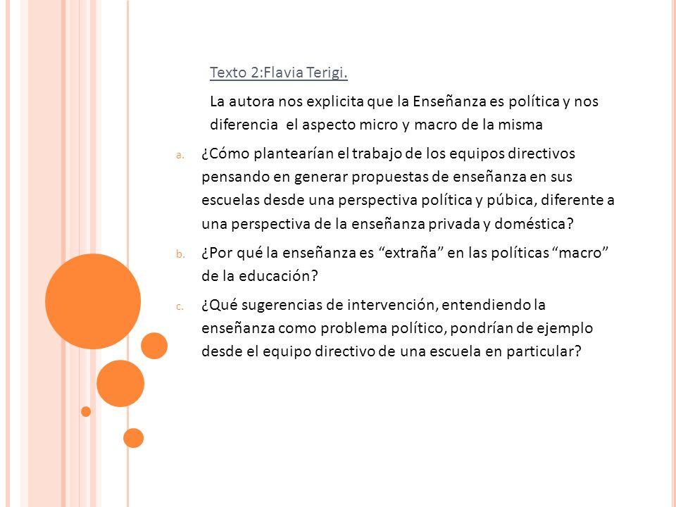 Texto 2:Flavia Terigi. La autora nos explicita que la Enseñanza es política y nos diferencia el aspecto micro y macro de la misma.