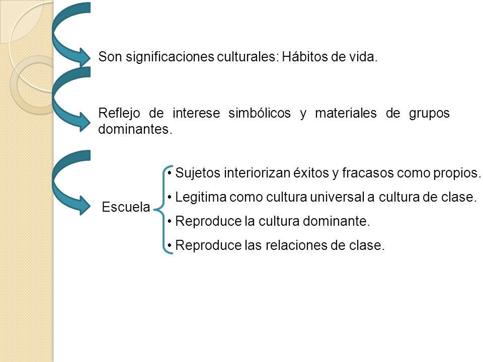 Son significaciones culturales: Hábitos de vida.