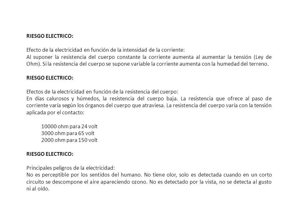 RIESGO ELECTRICO: Efecto de la electricidad en función de la intensidad de la corriente: