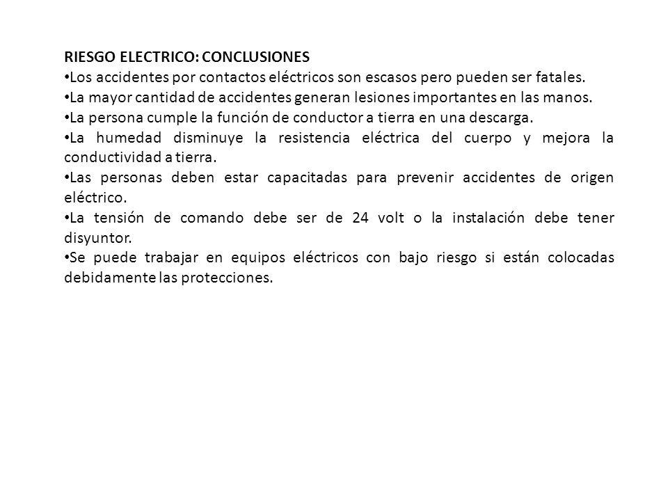 RIESGO ELECTRICO: CONCLUSIONES