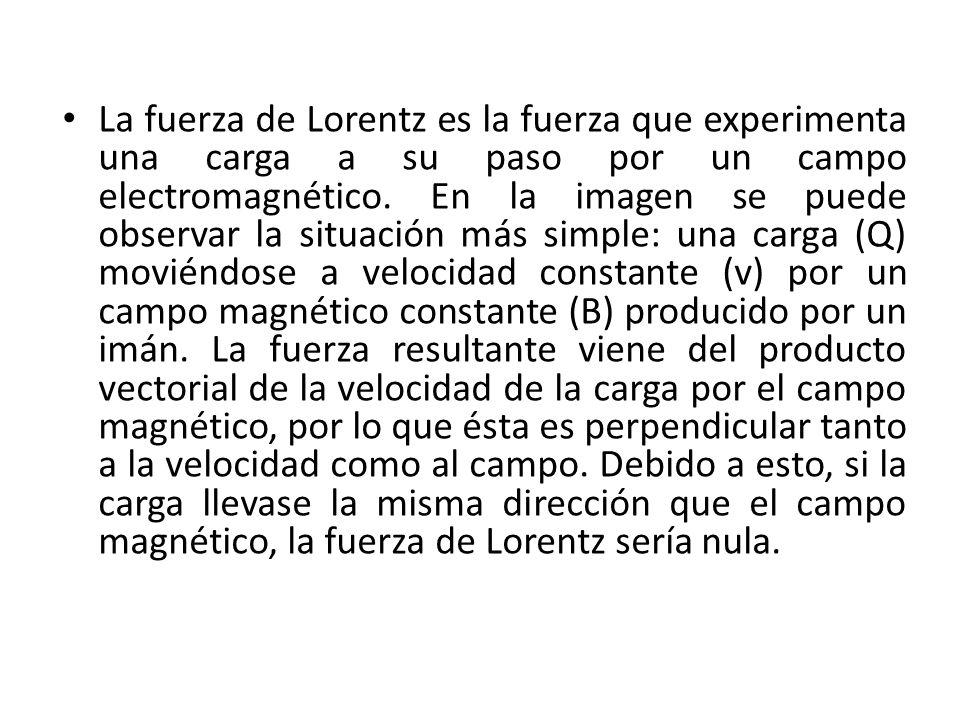 La fuerza de Lorentz es la fuerza que experimenta una carga a su paso por un campo electromagnético.