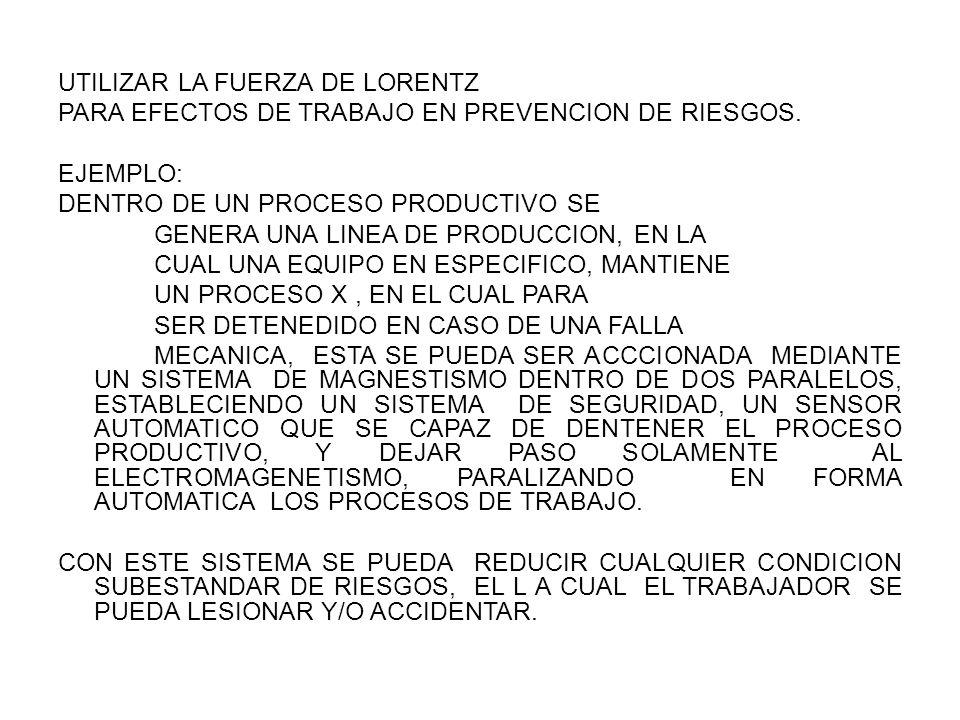 UTILIZAR LA FUERZA DE LORENTZ PARA EFECTOS DE TRABAJO EN PREVENCION DE RIESGOS.