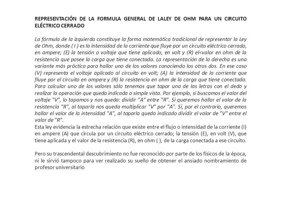 REPRESENTACIÓN DE LA FORMULA GENERAL DE LALEY DE OHM PARA UN CIRCUITO ELÉCTRICO CERRADO