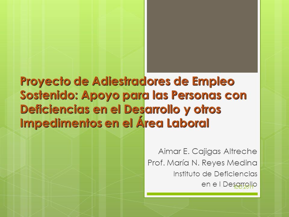 Proyecto de Adiestradores de Empleo Sostenido: Apoyo para las Personas con Deficiencias en el Desarrollo y otros Impedimentos en el Área Laboral
