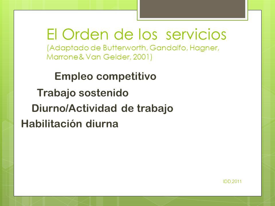 El Orden de los servicios (Adaptado de Butterworth, Gandalfo, Hagner, Marrone& Van Gelder, 2001)