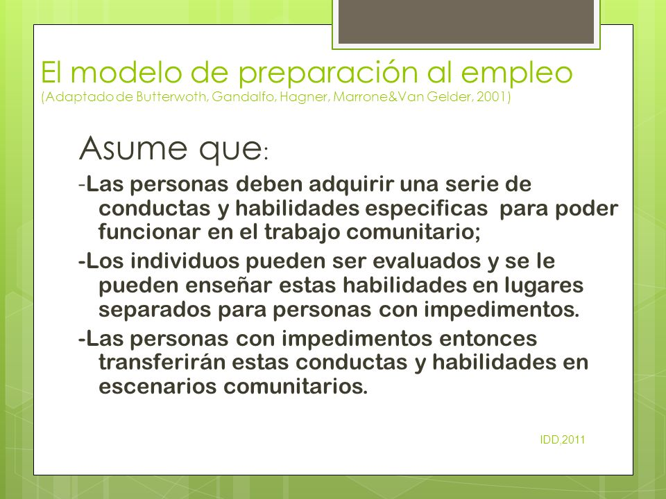 El modelo de preparación al empleo (Adaptado de Butterwoth, Gandalfo, Hagner, Marrone&Van Gelder, 2001)