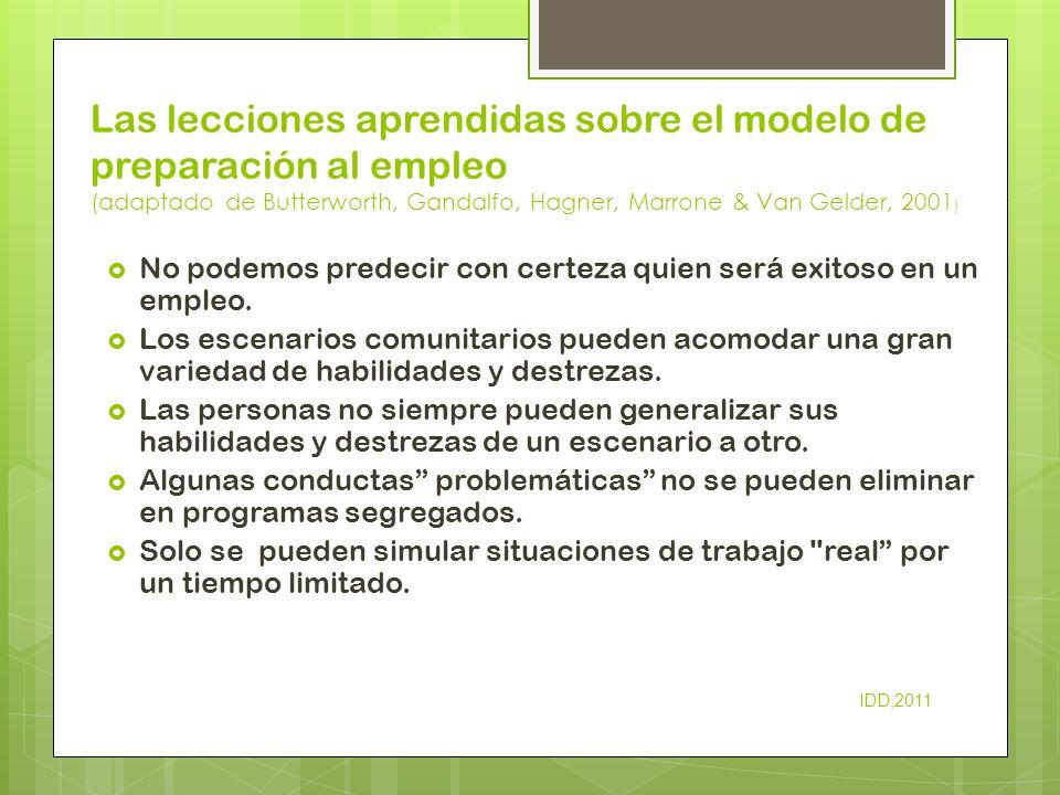 Las lecciones aprendidas sobre el modelo de preparación al empleo (adaptado de Butterworth, Gandalfo, Hagner, Marrone & Van Gelder, 2001)