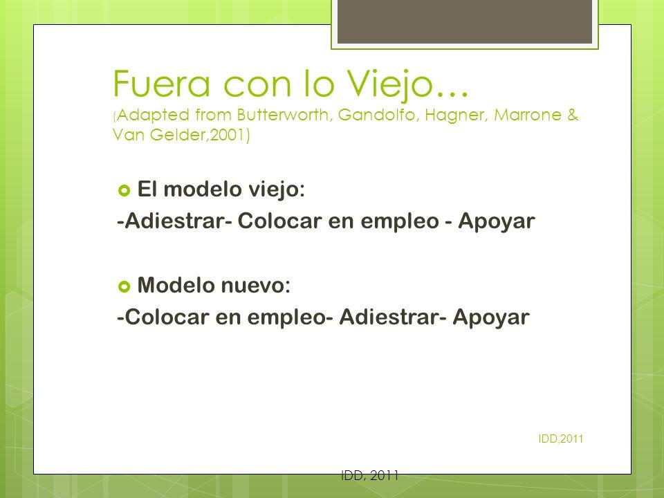 Fuera con lo Viejo… (Adapted from Butterworth, Gandolfo, Hagner, Marrone & Van Gelder,2001)