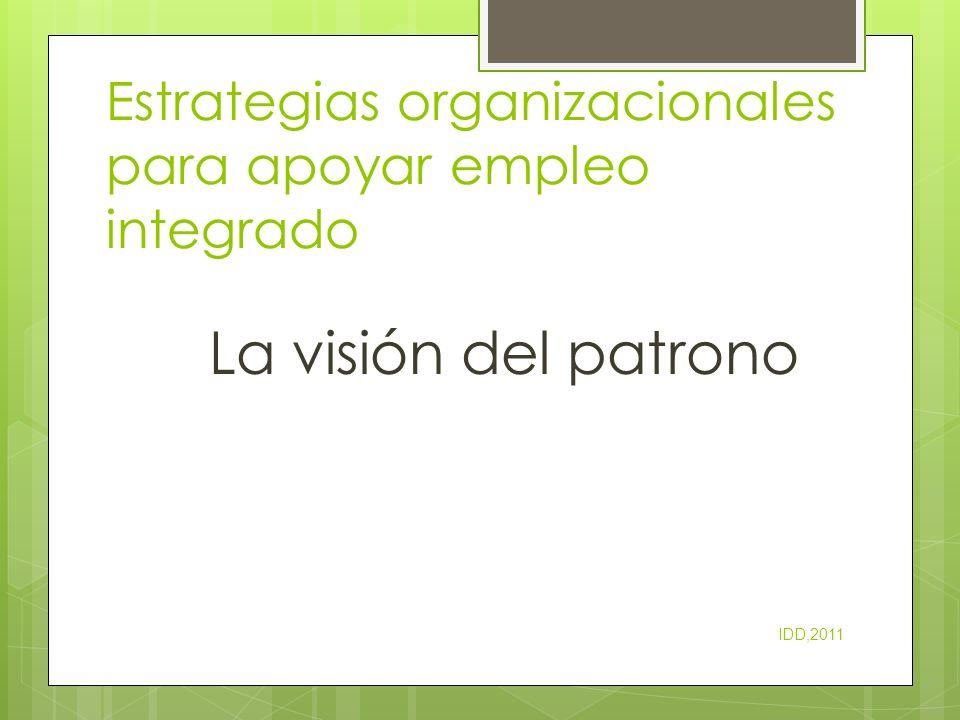 Estrategias organizacionales para apoyar empleo integrado