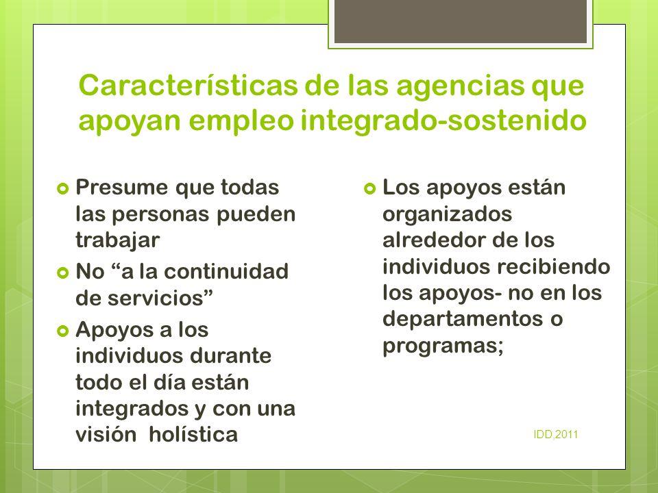 Características de las agencias que apoyan empleo integrado-sostenido