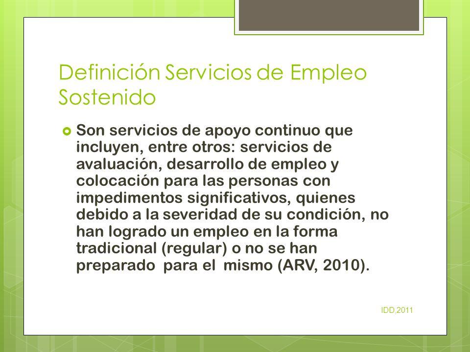 Definición Servicios de Empleo Sostenido