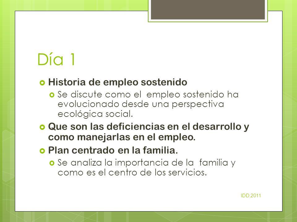 Día 1 Historia de empleo sostenido