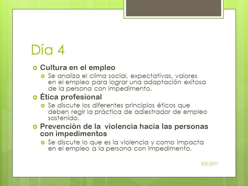 Día 4 Cultura en el empleo Ética profesional
