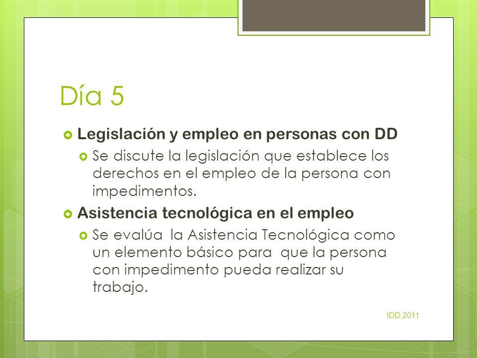 Día 5 Legislación y empleo en personas con DD