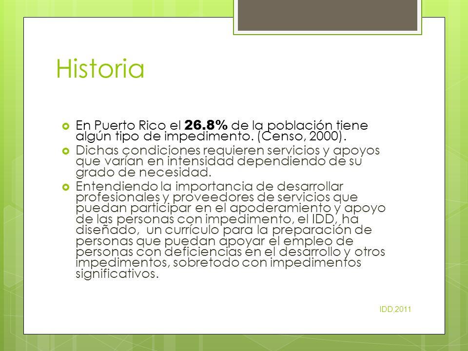 Historia En Puerto Rico el 26.8% de la población tiene algún tipo de impedimento. (Censo, 2000).