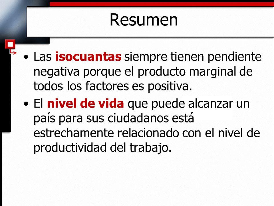 Resumen Las isocuantas siempre tienen pendiente negativa porque el producto marginal de todos los factores es positiva.