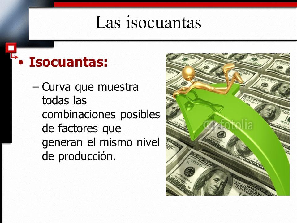 Las isocuantas Isocuantas: