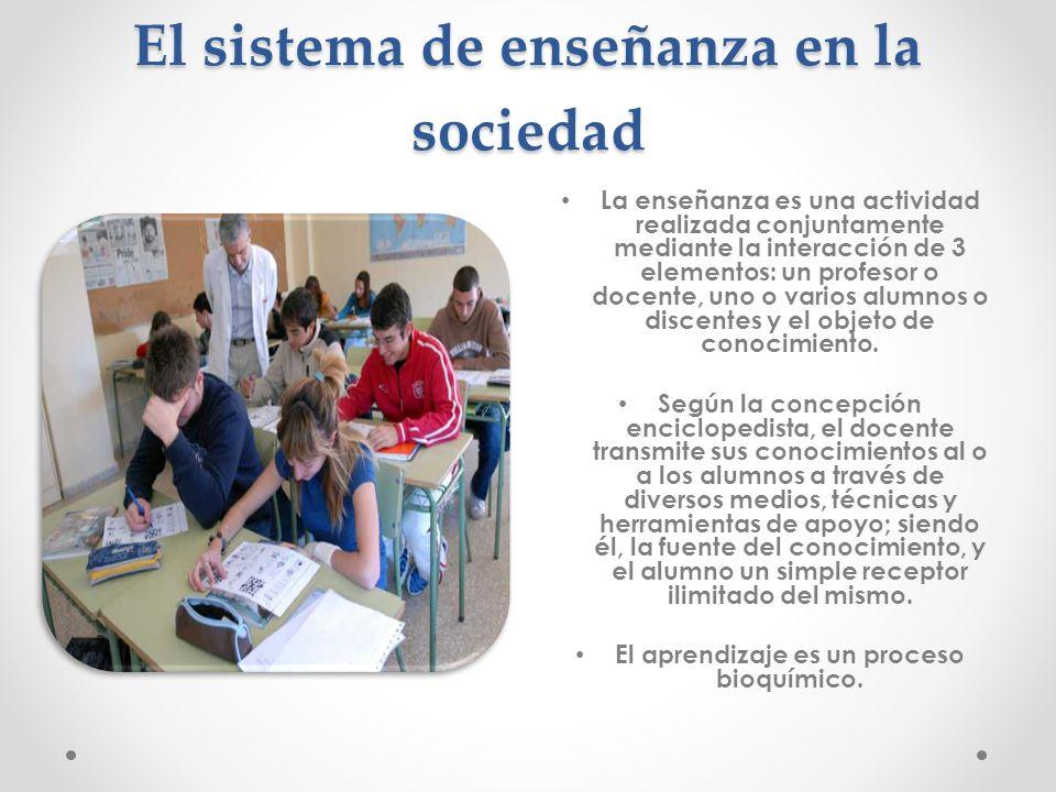 El sistema de enseñanza en la sociedad