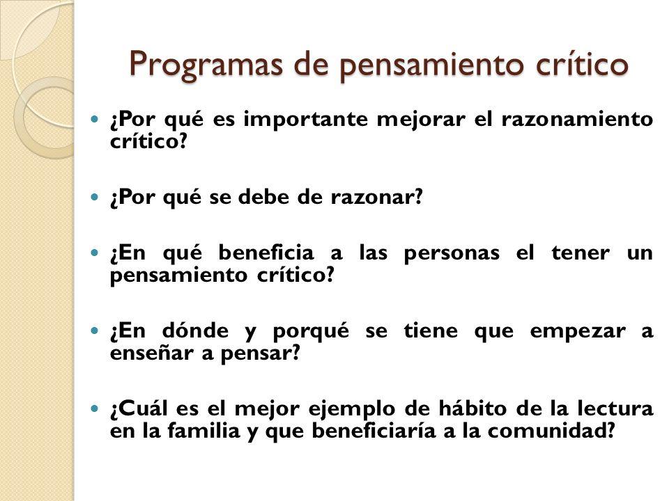 Programas de pensamiento crítico