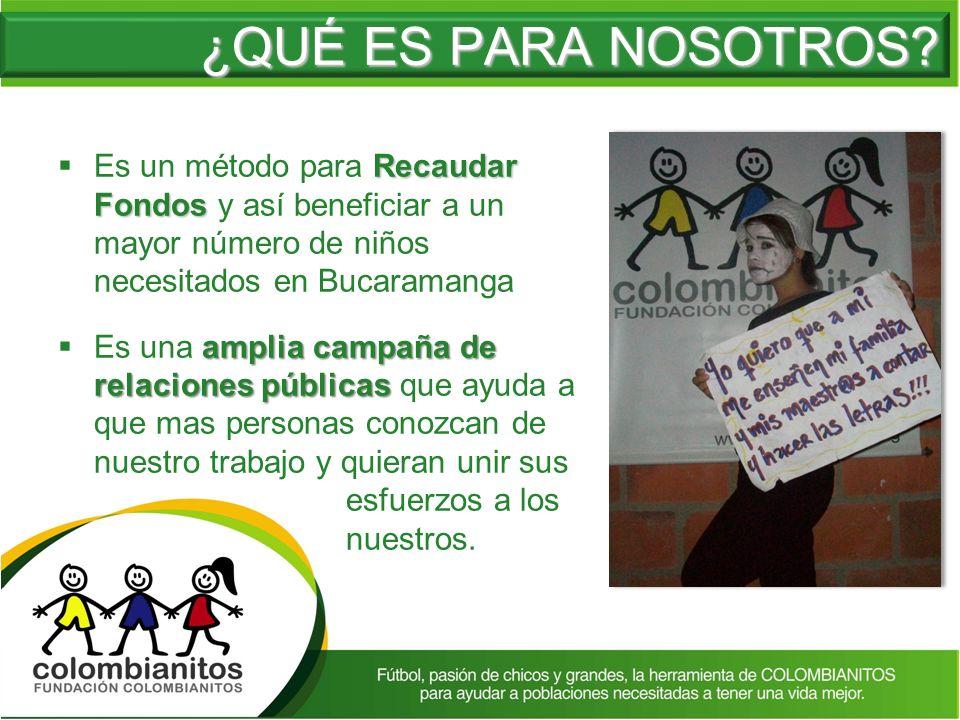 ¿QUÉ ES PARA NOSOTROS Es un método para Recaudar Fondos y así beneficiar a un mayor número de niños necesitados en Bucaramanga.