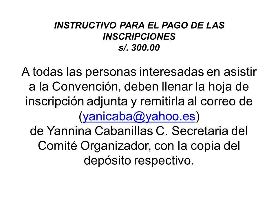 INSTRUCTIVO PARA EL PAGO DE LAS INSCRIPCIONES