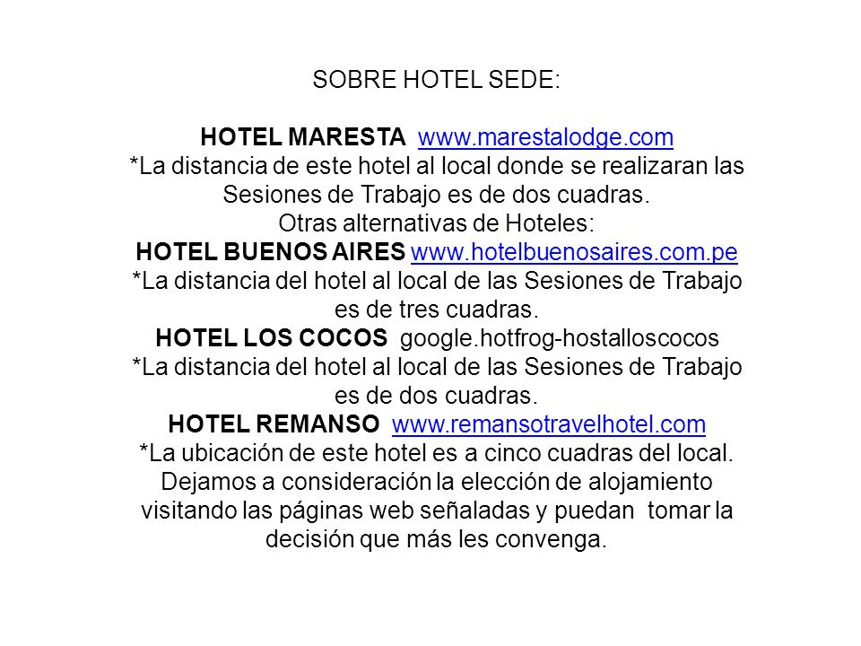 HOTEL MARESTA www.marestalodge.com