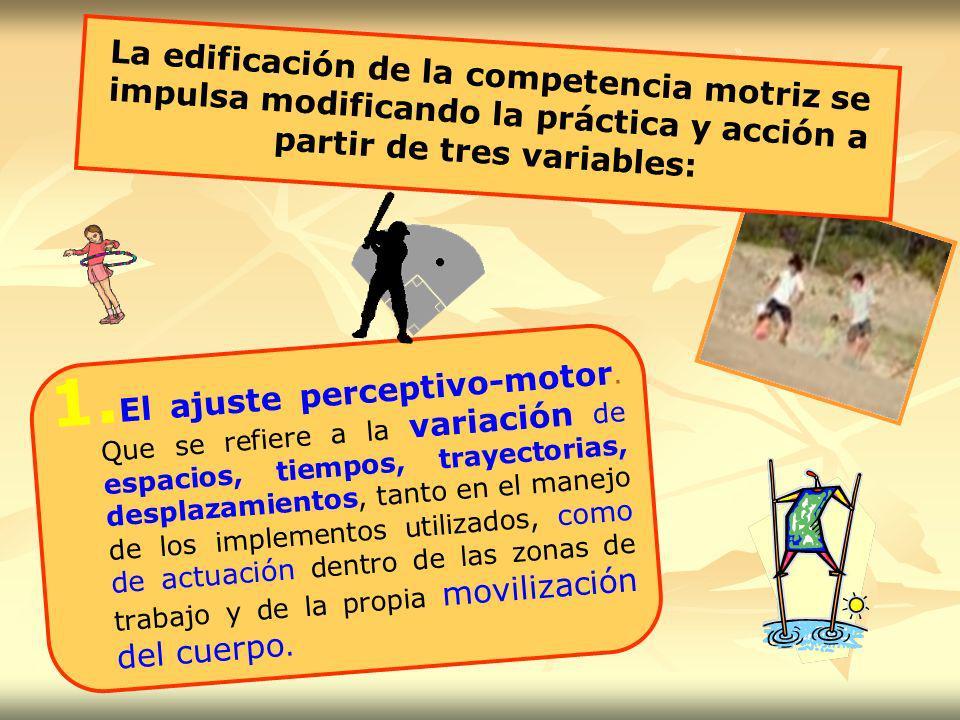 La edificación de la competencia motriz se impulsa modificando la práctica y acción a partir de tres variables:
