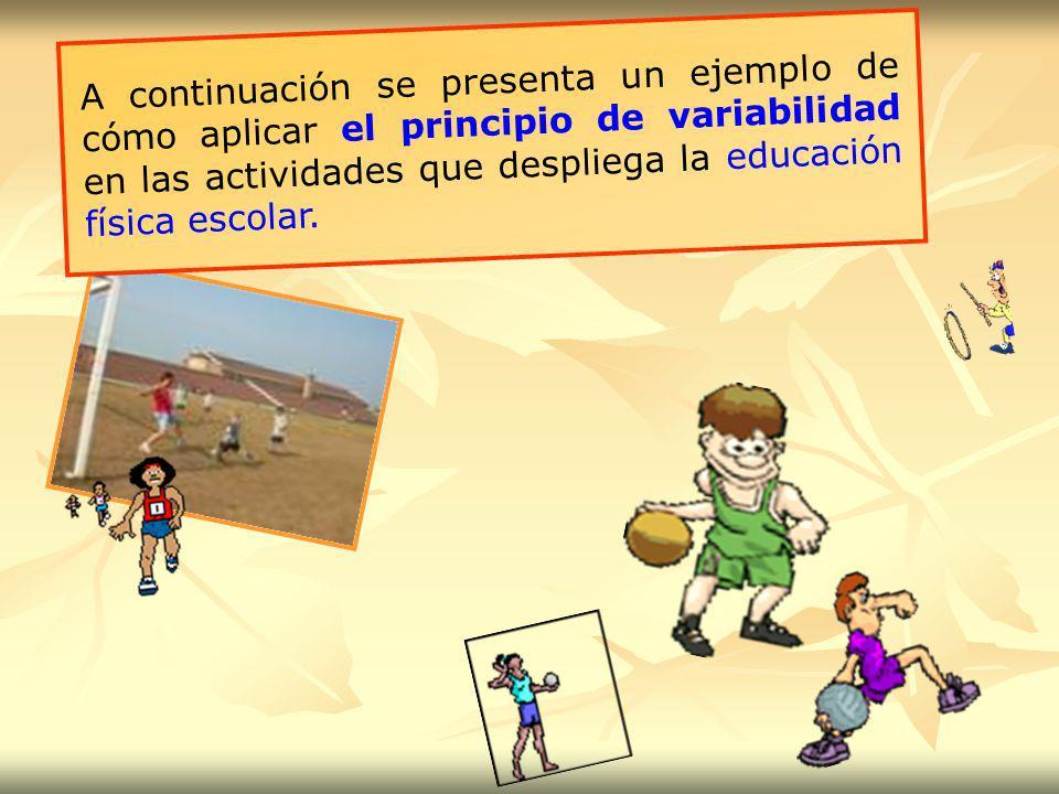 A continuación se presenta un ejemplo de cómo aplicar el principio de variabilidad en las actividades que despliega la educación física escolar.