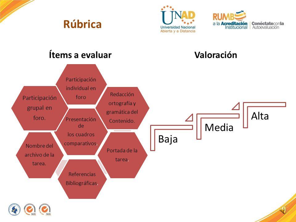 Rúbrica Alta Media Baja Ítems a evaluar Valoración grupal en foro.
